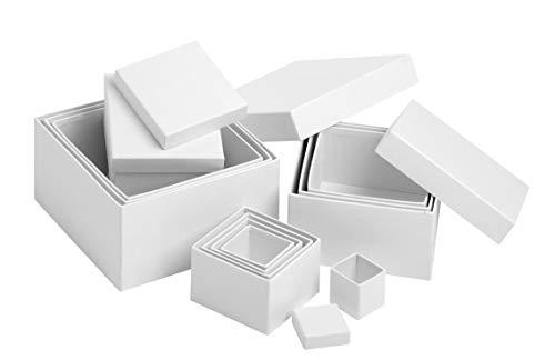 VBS Schachteln, 12er-Set, Quadrat, Karton, Schachtel quadratisch, Geschenkschachteln