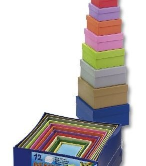 folia 3109 - Geschenkboxen aus Karton, eckig, farbig sortiert, 12 Stück in verschiedenen Größen