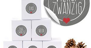 """5198PT+tkjL 310x165 - 24 Adventskalender Pappschachteln mit 24 weihnachtlichen Zahlenaufklebern """"Schick und Grau"""" als Weihnachts-Geschenktüte zum Basteln und Befüllen"""