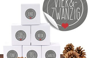"""24 Adventskalender Pappschachteln mit 24 weihnachtlichen Zahlenaufklebern """"Schick und Grau"""" als Weihnachts-Geschenktüte zum Basteln und Befüllen"""