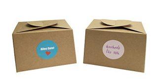 EAST WEST Trading GmbH 12 Boxen aus Naturkarton 24 Geschenkaufkleber 310x165 - EAST-WEST Trading GmbH 12 Boxen aus Naturkarton + 24 Geschenkaufkleber für Kuchen, Kekse, Cupcakes Aber auch Geschenke Aller Art