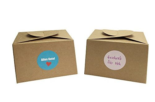 EAST WEST Trading GmbH 12 Boxen aus Naturkarton 24 Geschenkaufkleber 500x330 - EAST-WEST Trading GmbH 12 Boxen aus Naturkarton + 24 Geschenkaufkleber für Kuchen, Kekse, Cupcakes Aber auch Geschenke Aller Art
